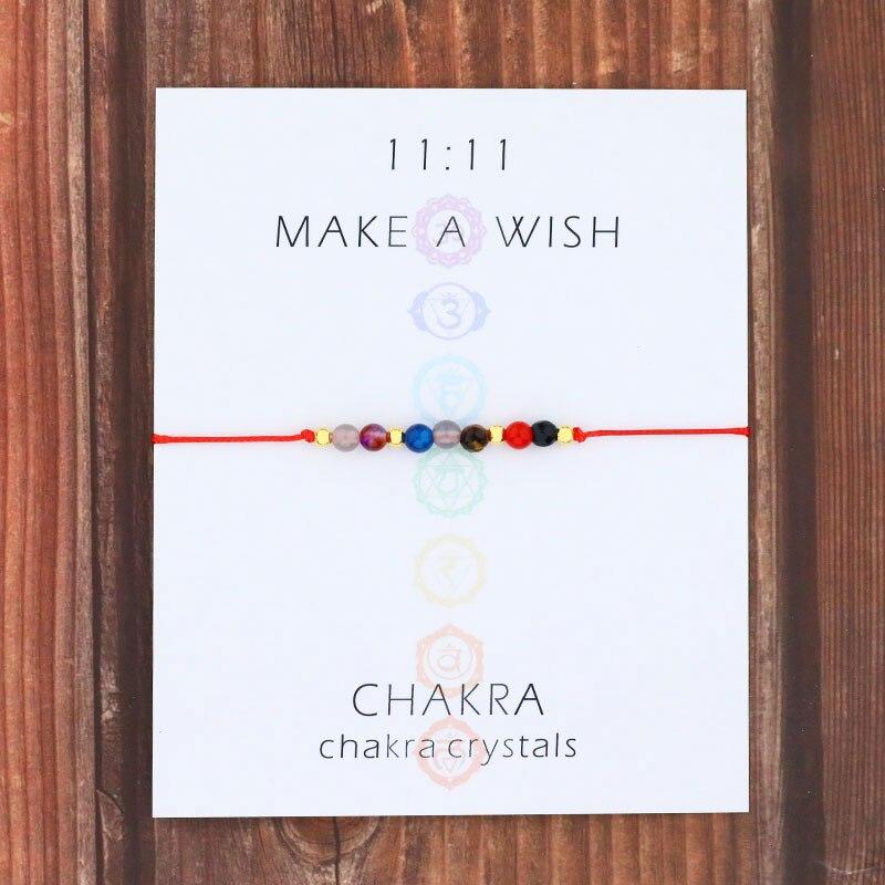 Браслет из цепочек, 7 чакр, женский браслет из молитвенных камней, 7 кристаллов чакр, ювелирные изделия, браслет из натурального камня