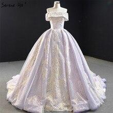 보라색 레이스 구슬 진주 민소매 웨딩 드레스 2020 오프 어깨 섹시한 신부 가운 고요한 힐 HM67082 맞춤 제작