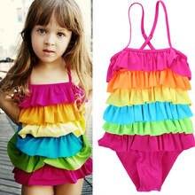 Детские радужные бикини для девочек летние пляжные купальники