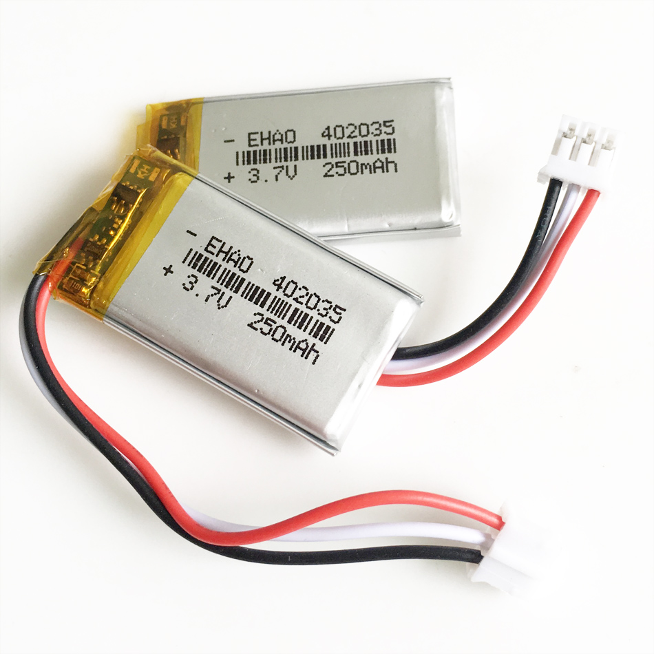 Lot <font><b>402035</b></font> 3.7V 250mAh polymer lithium Rechargeable <font><b>battery</b></font> JST PH 2.0mm 3pin plug Lipo cells for MP3 GPS bluetooth headset image
