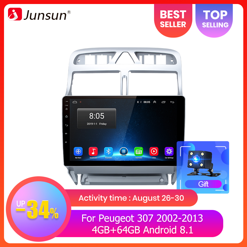 Junsun Dvd Player Multimedia Car-Radio Din Peugeot 307 Android 9.0 Optional 64G for GPS