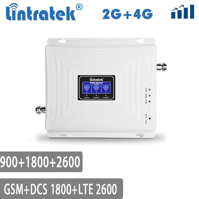 Lintratek Repeater GSM 4G LTE สัญญาณ Booster 900 1800 2600 GSM 900 LTE 1800 4G 2600 Booster GSM 1800 AMPLI Tri Band @ 5