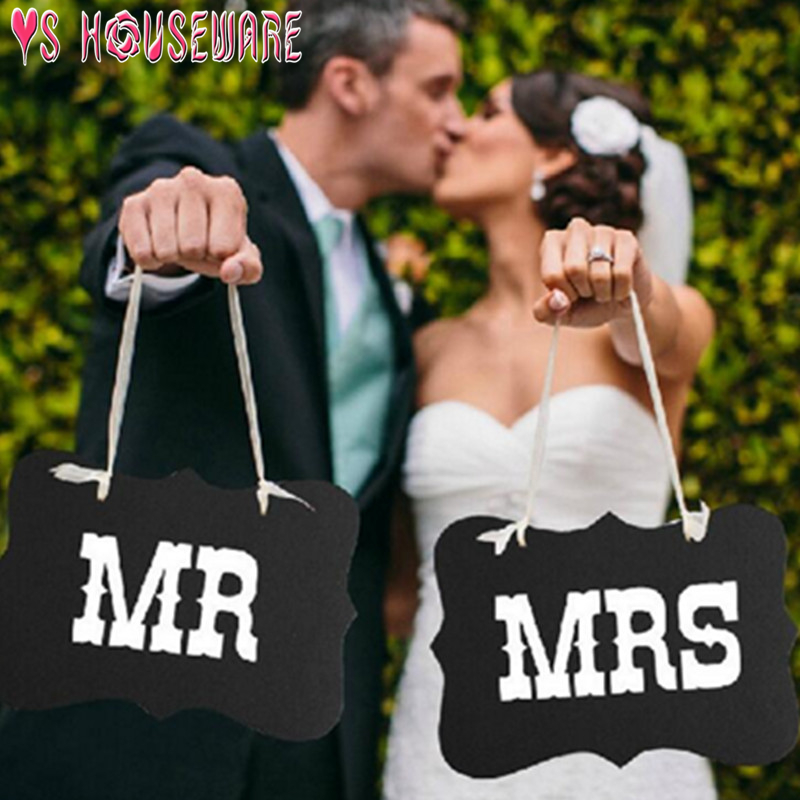 26*17cm Fashion Wedding Photography Accessories Couple Letters MR & MRS Signs Wedding Party Handheld Photo Props Banner Decor