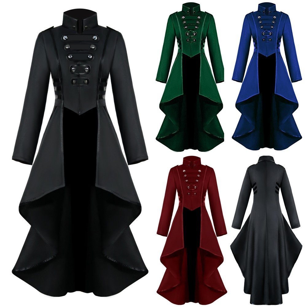2020 Autumn Winter New Products Women Gothic Steampunk Button Lace Corset Halloween Costume Coat Tailcoat Jacket Ropa De Mujer#1