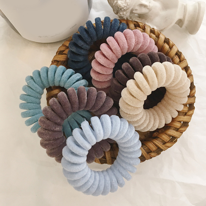 1PC Elastic Hair Bands Velvet Spiral Shape Ponytail Holders Hair Ties Gum Rubber Band Hair Rope Telephone Wire Hair Accessories