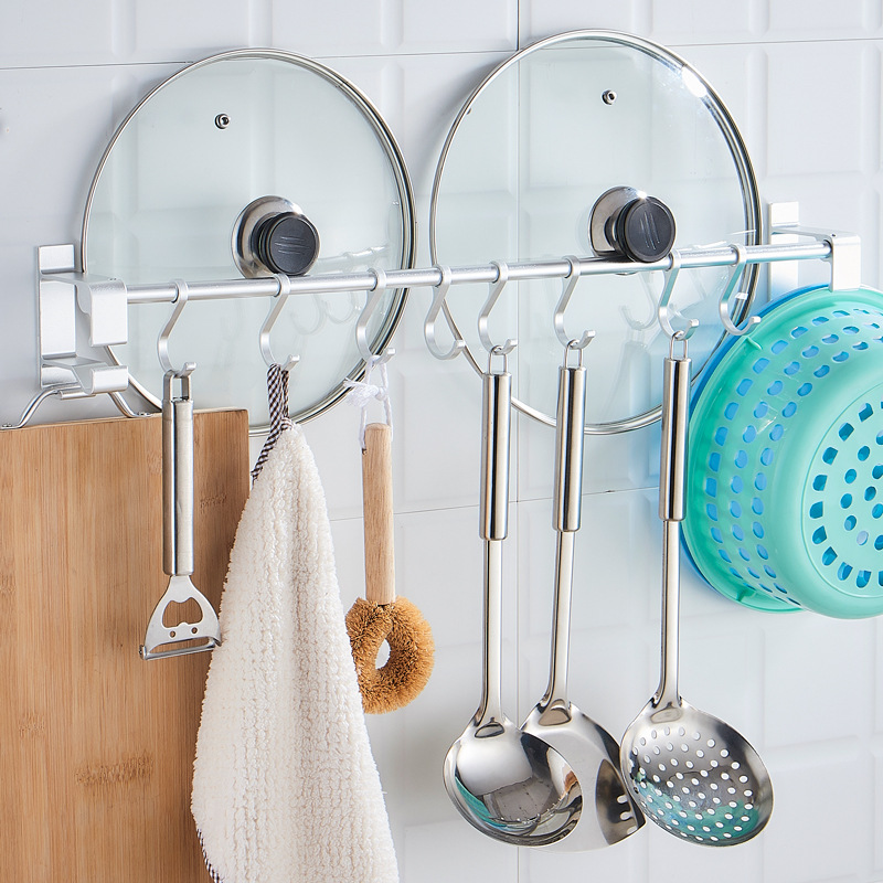 Hole-Punched Kitchen Hook Wall Hangers Wall Alumimum Hanging Rod Wash Basin Storage Shelf Strong Adhesive Hook Row Hook