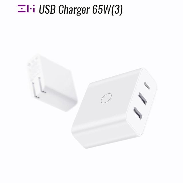 ZMI USB מטען 65W 3 יציאת עבור אנדרואיד iOS מתג חכם פלט סוג C 45W USB A 20W מחוון אור מתנה כבל