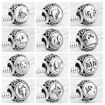 925 Sterling Silver 12 Constellation Star Zodiac bead charms Fits Original Pandora Charm Bracelets