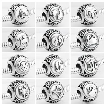 925 Sterling Silver 12 Constellation Star Zodiac bead charms Fits Original Pandora Charm Bracelets