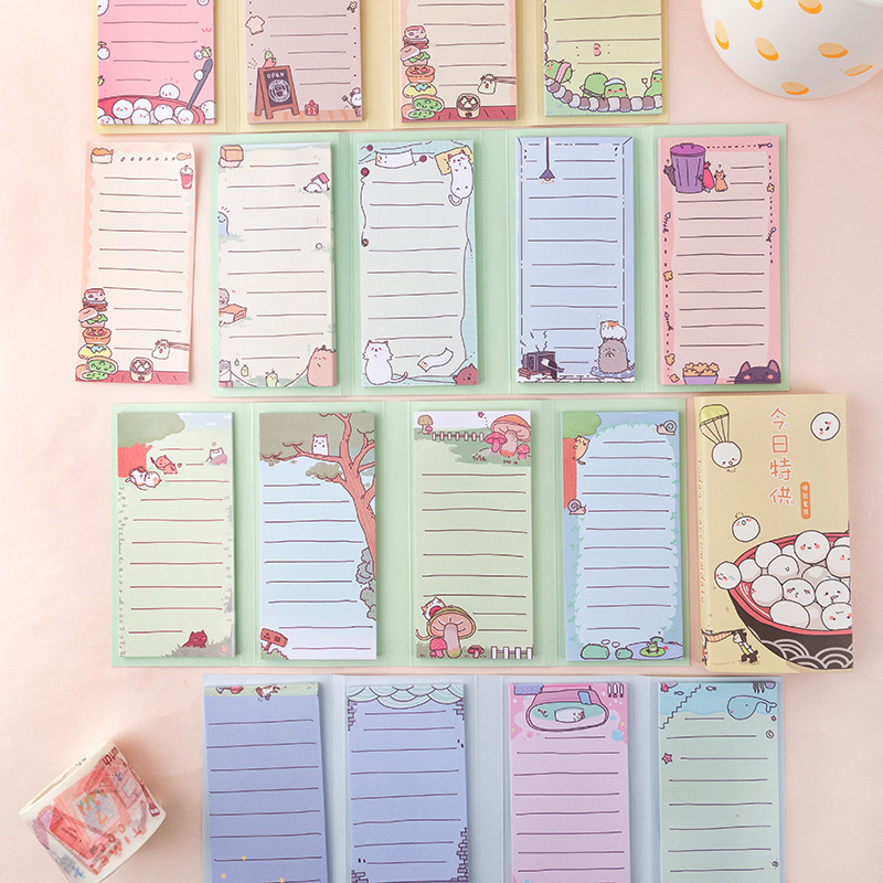Spring Outing Rural Rest Day Series 4 Folding Loose Leaf Memo Pad Notes Bookmark School Office Supply