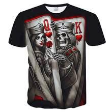New Casual Skull Poker Printed 3d T -Shirt Men Short Sleeve Tee Shirt Homme Black Design Tee Tops Male Summer Tops Drop Ship