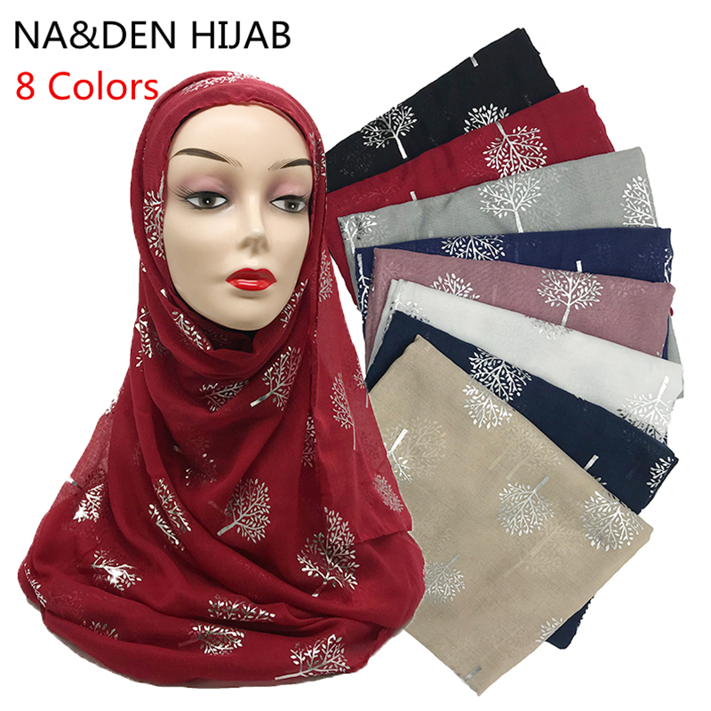 10 Pcs New Arrival Plain Bling Viscose Hijab Scarf Shimmer With Sliver Tree Scarf Muslim Scarves Hijabs 10pcs/lot 8 Colors