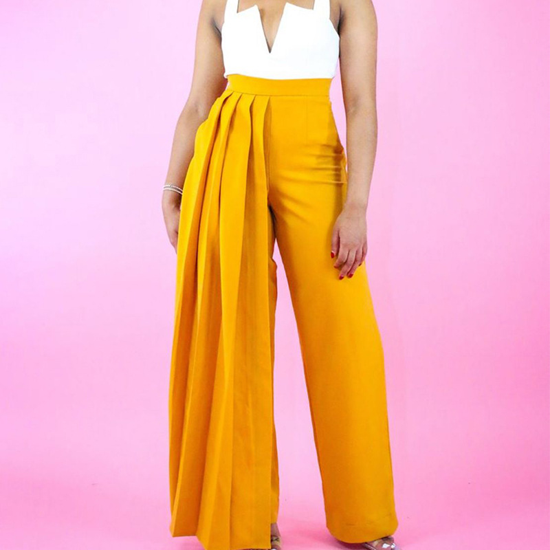 Yellow Wide Leg Pants Pleated High Waist With Zipper Elastic Large Size Women Trouses Autumn Winter Fashion Plus Size XXL New