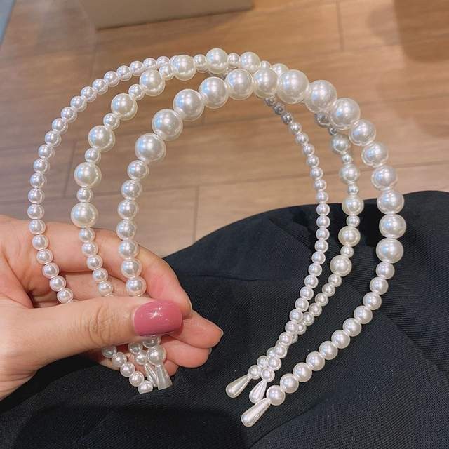 Gold Pearl Hairbands For Women Hair Accessories Designer Band Flower Hoops Bow Wedding Headband Metal Bridal Headwear Bands Clip 3