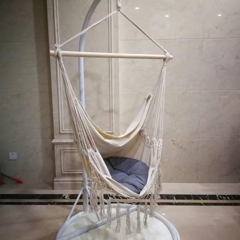 Bohemia Style Swing Tassels Hammock Cotton Rope Net Beige Tree Hanging Chair Portable Hook Hanging Seat Indoor Garden