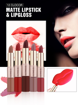 O.TWO.O 2 In 1 Matte Lipstick and Liquid Lip Gloss Lipstick Shine Shimmer Waterproof Lip Blam Not-Stick Cup Nude Tint TSLM1 2 in 1 makeup dual use matte lipstick waterproof double end nude liquid velvet matte non stick cup lip gloss lipliner pen