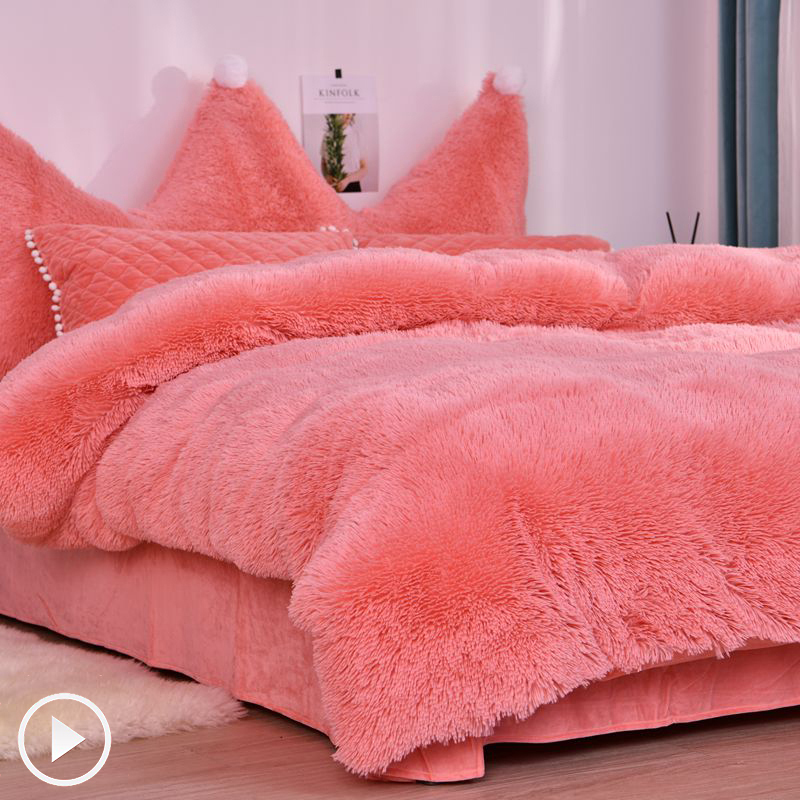 JUSTCHIC Autumn Winter Warm Quilt Cover Mink Cashmere + Crystal Fleece AB Double-sided Duvet Cover Sheets Pillowcase Comforter