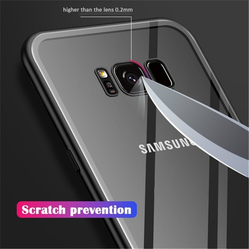 Luxury Phone Glass For Samsung Galaxy S10 S9 S8 Plus A50 A60 A70 Case Samsung Galaxy S10e Note 8 9 A10 A20 A30 A40 Case in Fitted Cases from Cellphones Telecommunications