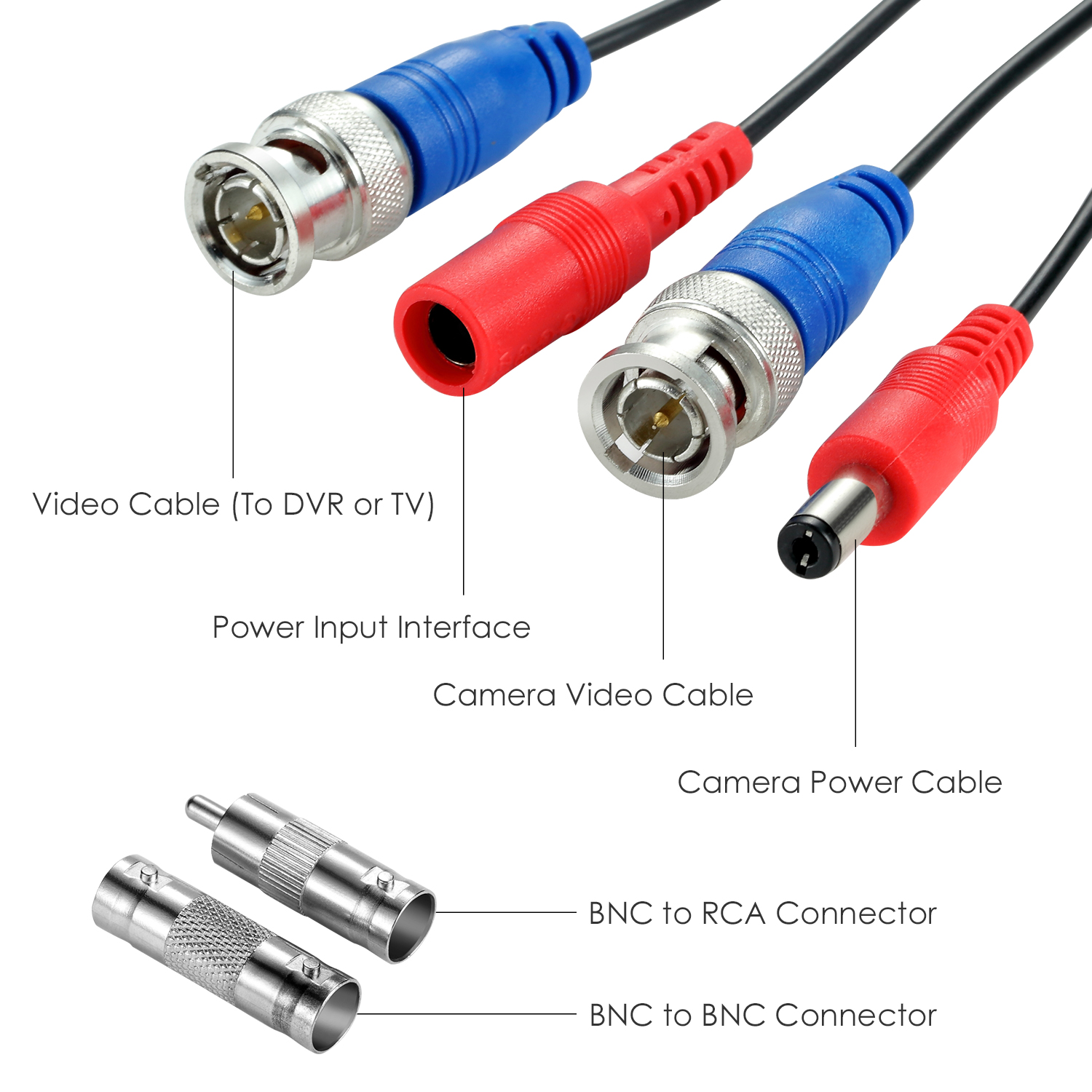 ZOSI 100ft BNC Power Video Cable 20m 30m Wire CCTV Camera system 1A 2A UK Power
