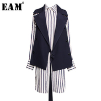 [EAM] Women Striped Split Two Piece Suit Blouse New Lapel Long Sleeve Loose Fit Shirt Fashion Tide Spring Autumn 2019 1A306