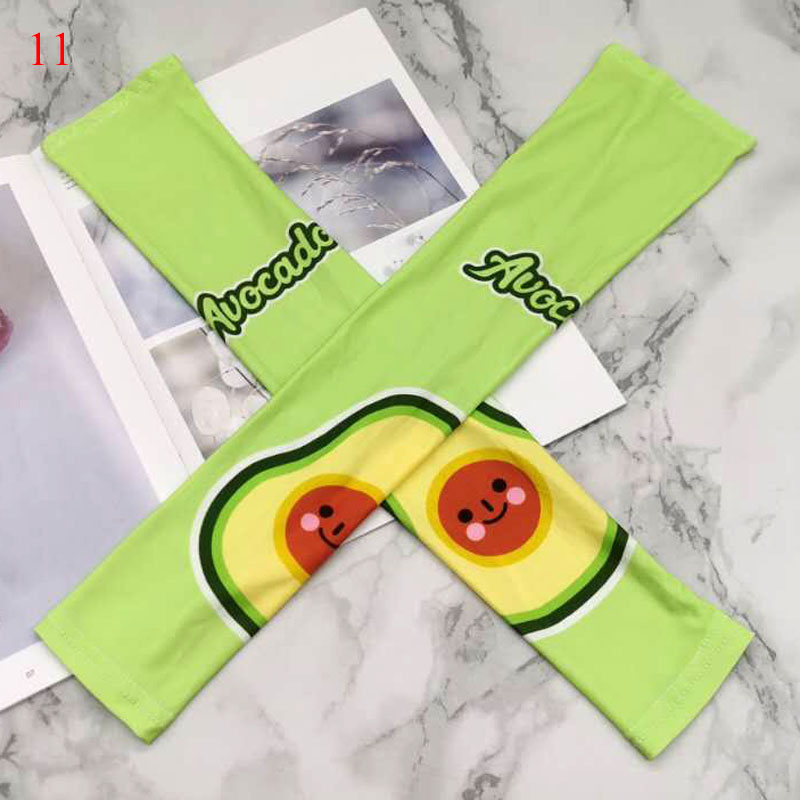 New Ice Silk Cuff Avocado Sleeves Cool UV Protection Outdoor Arm Guards Sun Protection Sleeves Ice Dogs Summer Ice Silk Sleeves