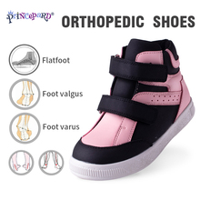 Princepard Orthopedic Shoes for Children Arch Support Kids First Walkers Correcting Shoes High-top Non-Slip Boot cheap PRINCE PARD Fits true to size take your normal size 14T Genuine Leather Hook Loop patchwork autumn spring Anti-Slippery