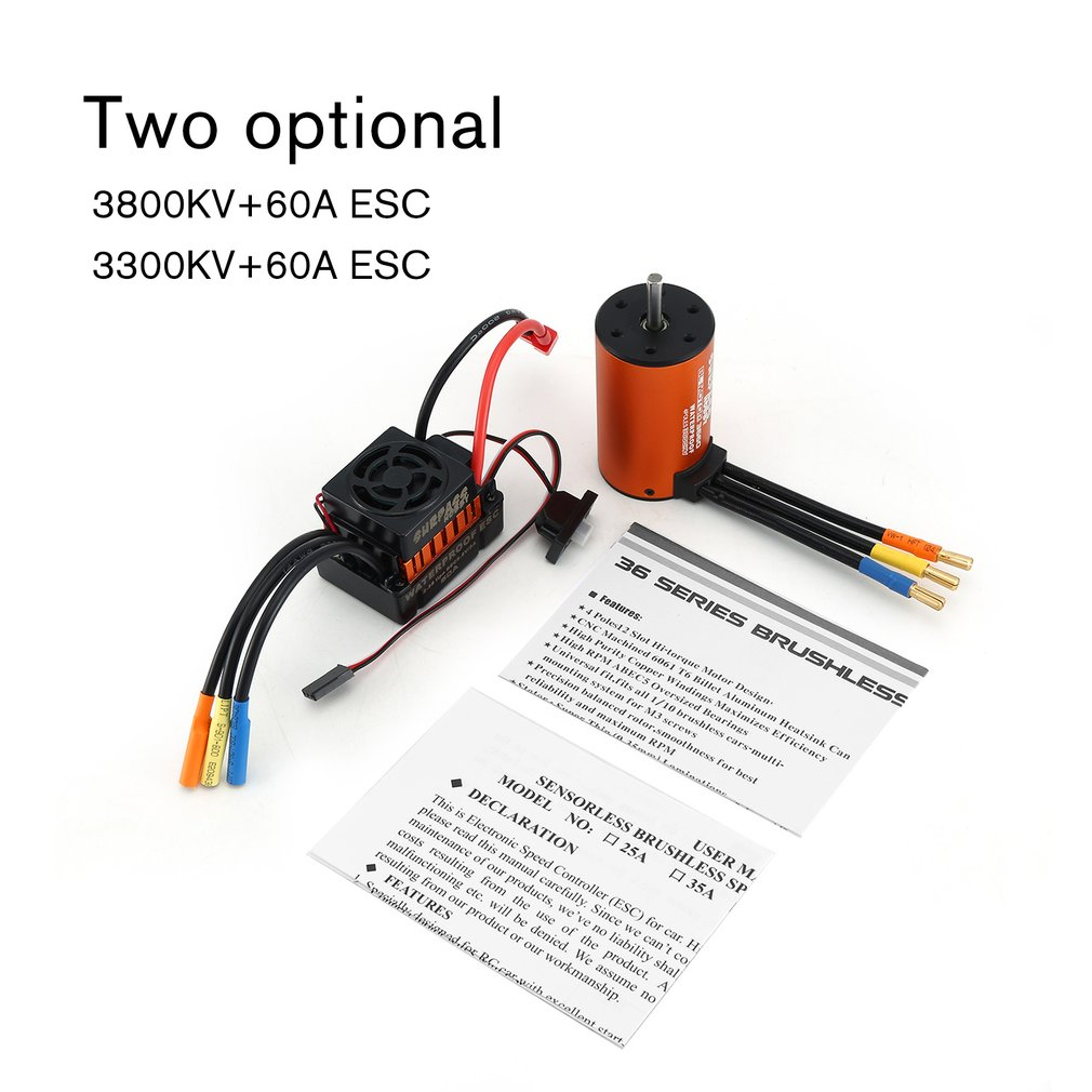 SURPASSHOBBY 3660 4300KV/3300KV/3800KV Brushless Sensorless Motor with 60A ESC Combo Set for <font><b>1/10</b></font> RC Car Truck Part <font><b>Accessories</b></font> image