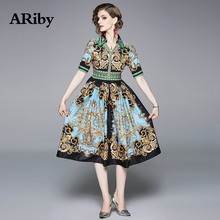 купить ARiby Women Printed Slim Mid-length Dress 2019 Summer New Fashion Vintage Lady Elegant Short Sleeve V-Neck Empire A-Line Dress по цене 1640.65 рублей