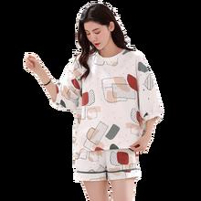 Plus Size Vrouwen 100% Katoenen Pyjama Sets Zomer Korte Mouw Nachtkleding M 4XL Afdrukken Pyjama Voor Vrouw 2 Stuks Homewear 4XL