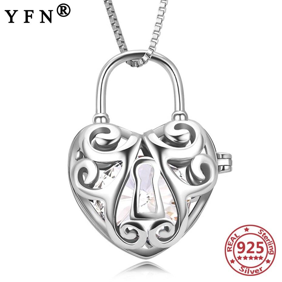 YFN 925 пробы Серебряное колье с кулоном в виде клетки с кристаллом от Swarovski ожерелье подвеска Кристалл подарок на день Святого Валентина подарок для мам Ювелирное Украшение
