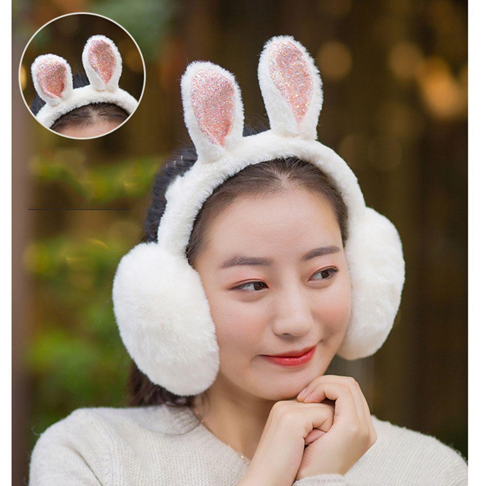 Women Winter Earmuffs Plush Warm Female Winter Earwarmers Rabbit Ear Design Earlap Warmer Protection Earmuff