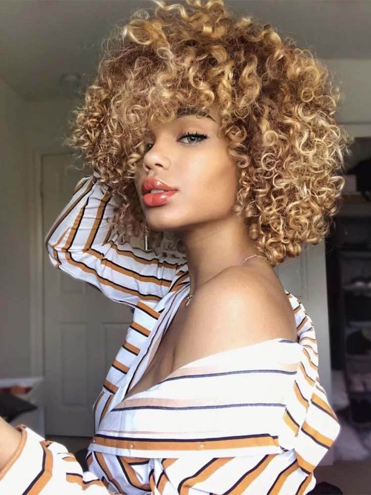 Wigs Afro-Hair Short Kinky Curly AISIBEAUTY Black Natural Synthetic Women 4colors