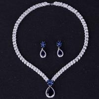 zlxgirl bridal jewelry blue green drop water shape Zirconia wedding necklace earring jewelry sets fashion Dubai gold pendant set
