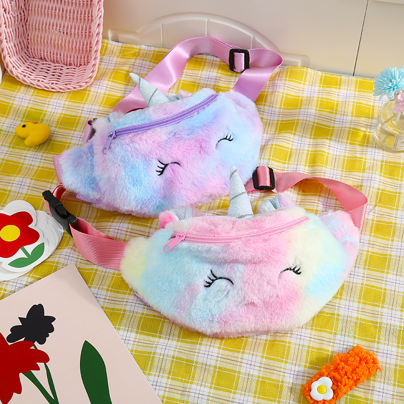 Girl Rainbow Fur Unicorn Pillow Waist Pack Student Winter Cartoon Plush Chest Shoulder Bag Women New Corduroy Zipper Fanny Pack