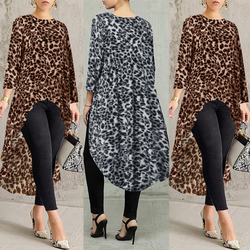 ZANZEA 2021 Sexy Leopard Tops Women's Printed Blouse Fashion Long Sleeve Tee Shirts Female Asymmetrical Blusas Plus Size Tunic