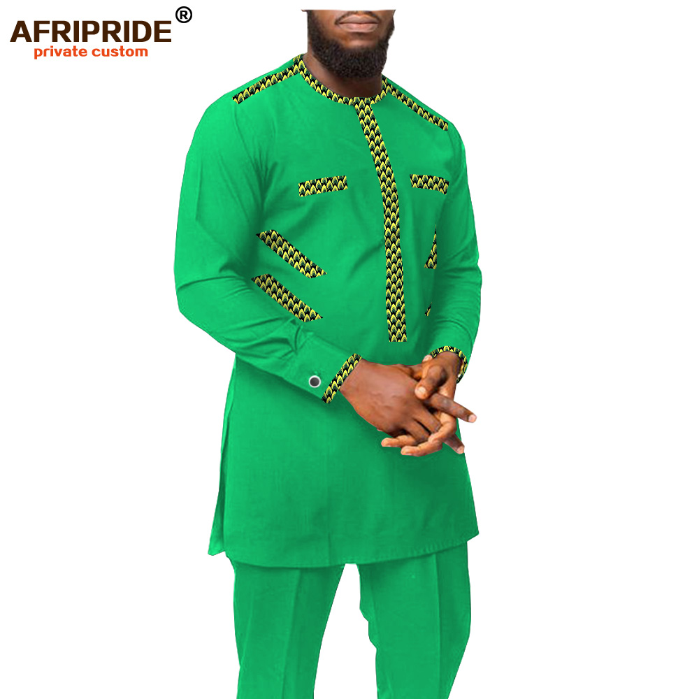 Men`s Casual Shirt Suit African Dashiki Print Clothing O Neck Long Sleeve Plus Size For Party Wedding Attire AFRIPRIDE A2016002
