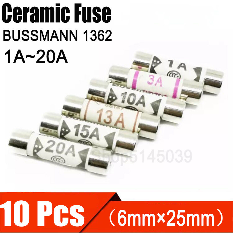 Ceramic Fuse for Multimeter 6×25mm bs1362 1 a 3 a 5 a 10 a 13 a Amp 250 V Y XJ