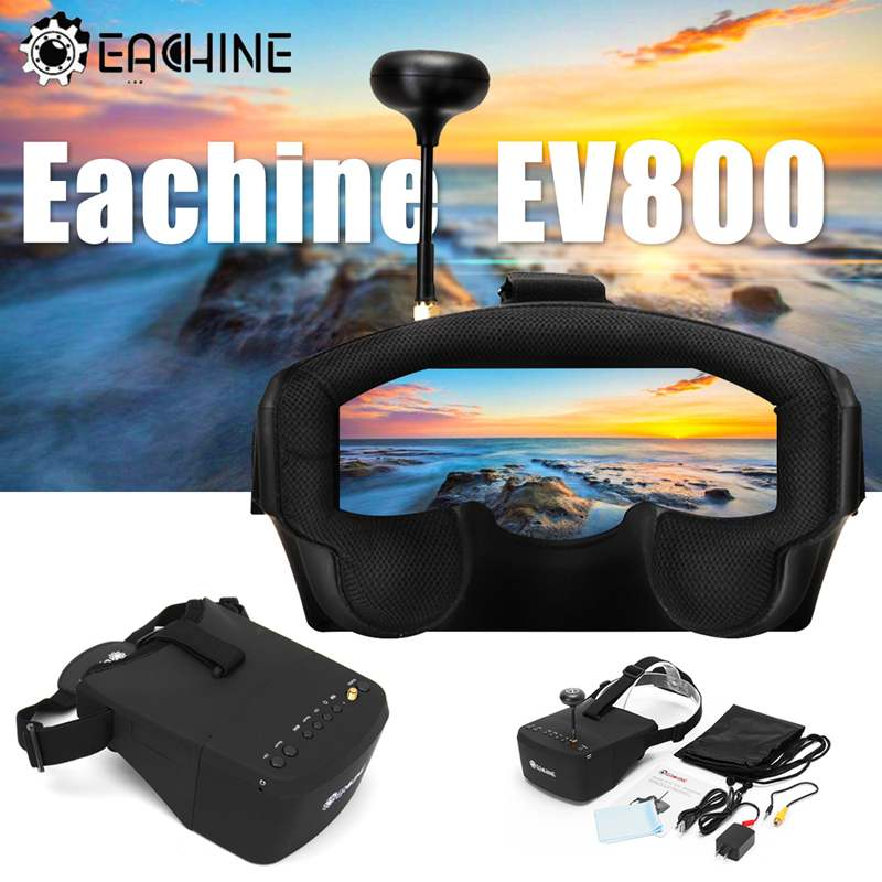 Eachine EV800 4 Step Get 5 Inches 800x480 Screen Monitor FPV Goggles 5.8G 40CH Raceband Auto-Searching Build In Battery