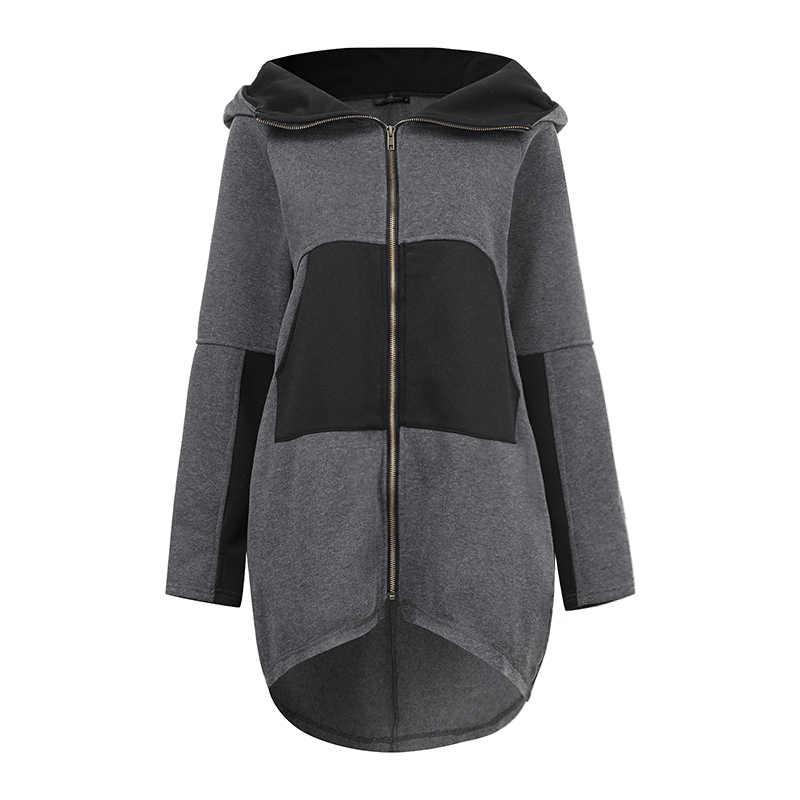 ZANZEA 플러스 크기 여성 후드 티 스웨터 2020 패션 우아한 레이디 Patchowork 지퍼 후드 여성 캐주얼 까마귀 스웨터 7