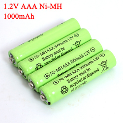 1.2v NI-Mh AAA Batteries 1000mAh Rechargeable ni mh Battery 1.2V Ni-Mh aaa For Electric remote Control car Toy RC ues