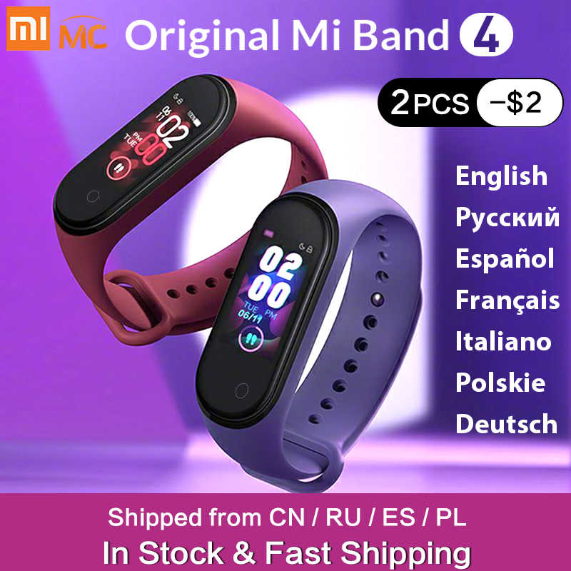 In Stock Original Xiao Mi Mi Band 4 Smart Mi band 3 สีสร้อยข้อมือ Heart Rate Fitness Tracker Bluetooth5.0 กันน้ำ Band4