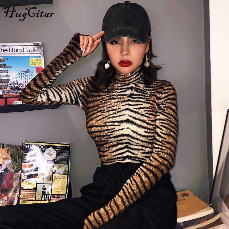 Hugcitar 2019 נמר הדפסת סקסי bodycon בגד גוף סתיו חורף נשים מועדון נמר streetwear מסיבת תלבושות גוף