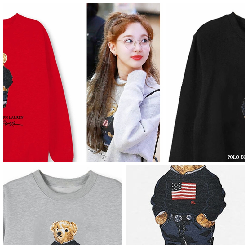 Twice Lim Na Yeon Cartoon Bear Sweatshirts Pullovers Men Women Pullover Sweatshirt Couple Streetwear Kpop Tops Clothes 4 Colors