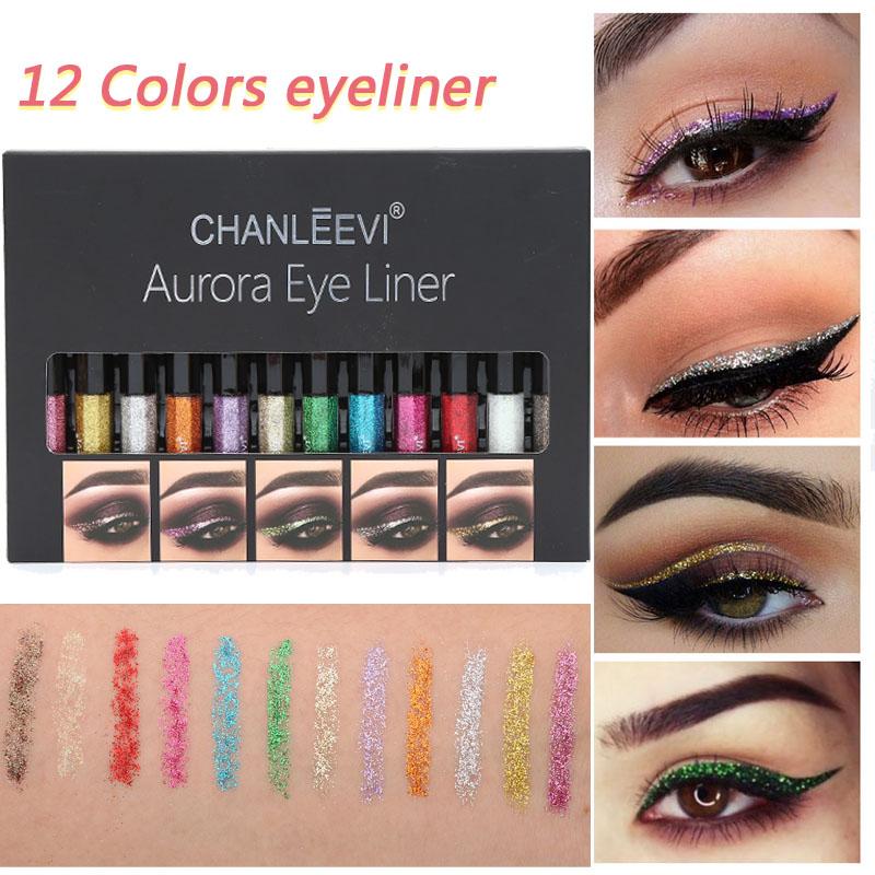 Eyeliner paillettes imperméable à leau beauté liquide Liner bâton longue durée Aurora Shine 12 couleurs ensemble cosmétique femmes cadeau