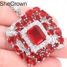 New Designed Red Blood Ruby White CZ Ladies Wedding Silver Pendants 40x30mm