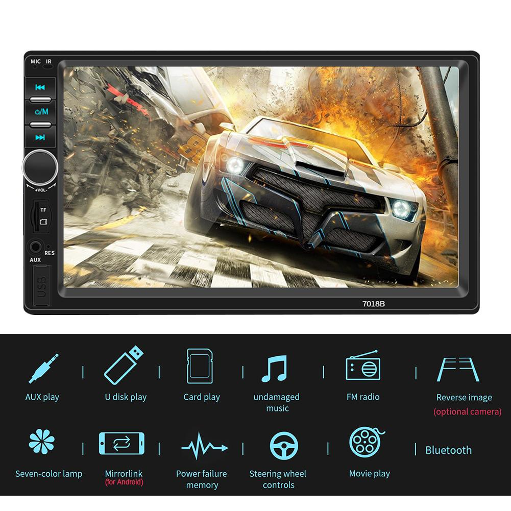 7 Inch HD <font><b>2DIN</b></font> Reversing Display Car MP5 Video Player Audio Card U Disk Car Audio Bluetooth Generation Control DVD-<font><b>7018B</b></font> image