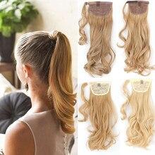 Lisi menina feminino longo ondulado rabo de cavalo clipe no cabelo uma peça de fibra de alta temperatura sintético natural envoltório em torno do cabelo