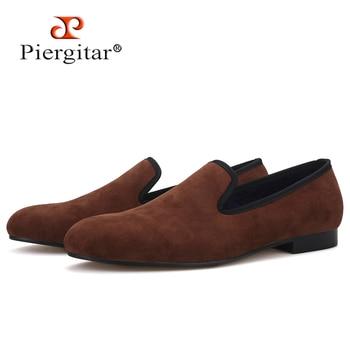 Piergitar handcrafted plain design men velvet shoes British style men smoking slippers party and wedding men's loafers plus size