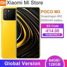 Em estoque versão global poco m3 smartphone 4gb 64gb/128gb snapdragon 662 octa núcleo 6000mah bateria 48mp câmera cellphon