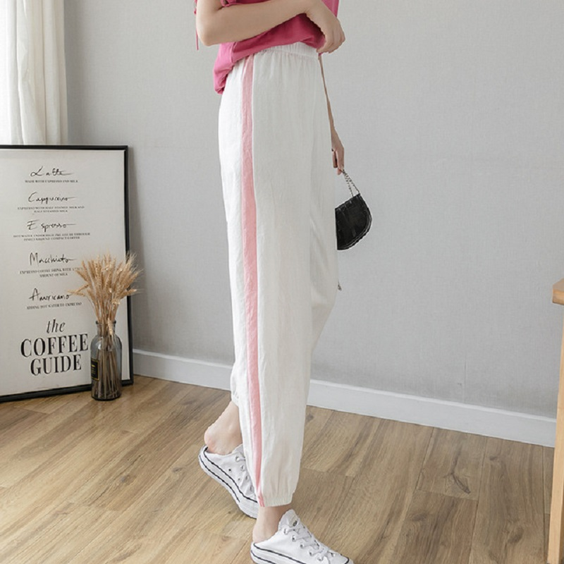 Spring Summer Cotton Linen Ankle Length Pants Women's Casual Trousers Pencil Casual Pants Striped Green Pink Women's Trousers